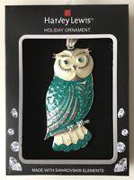 Christmas Ornament Owl Swarovski elements Harvey Lewis Holiday nature blue Craft