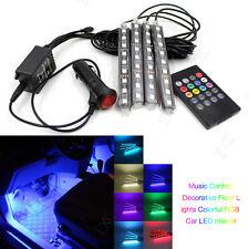4 in 1 Wireless Music Control 12V 9-LED Remote RGB Car Interior Strip Neon Light