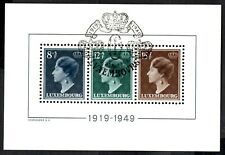 More details for luxembourg 1949 grand duchess charlotte - miniature sheet   sg.524a used