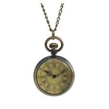 Antique Style Bronze Miniature Pocket Watch Necklace Roman Numerals Vintage