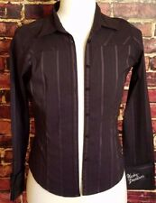 Harley Davidson Womens Long Sleeved Button Front Shirt Medium Black Embroidered