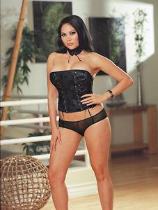 Sexy Lingerie Dreamgirl Black Satin Jacquard Corset w Short and Choker Size 2X