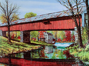 Red COVERED BRIDGE Art Print POSTER Fall in Mansfield INDIANA Parke County MINT