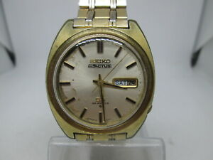 VINTAGE SEIKO 5ACTUS SS 6106-8420 DAYDATE GOLDPLATED AUTOMATIC MENS WATCH