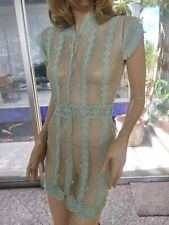 Lim'S Intricate and Delicate Hand Crochet Mini Dress Color Aqua One Size Medium