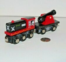 Wooden Railway Pirate Train Lot x2 Engine & Cannon works w/ Thomas Friends Brio