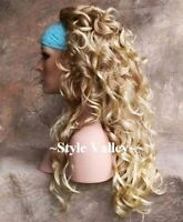 Blonde MIX 3/4 Fall Half Wig Layered HairPiece Long Curly Hair Piece Gorgeous!