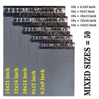 50 MIXED SIZES Grey Postage/Poly/Postal Mailing Bags/Sacks/Envelopes Self Seal