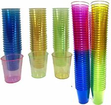 80 Plastic Shot Glasses Cup Neon Coloured Party Jelly  - Bar Pub Games Hen Stag