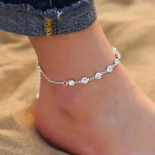 ☆ Silberne Fußkette | Diamanten | Damen | Länge 21-26cm | Silber Edelmetall ☆