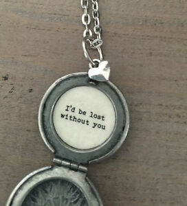 I'd Be Lost Without You Locket, Compass Locket, Silver Compass Locket