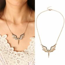 Exquisite Frauen Legierung Gold Full Crystal Wing Schutzengel Anhänger Halskette