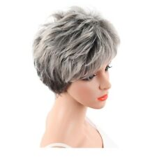 Short Grey Pixie Wig For Women Cosplay Short Curly Hair Synthetic Pixie Wig LNAU