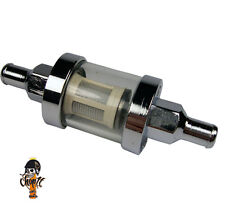 Motorrad Benzinfilter Chrom mit Schauglas 8 mm Benzinschlauch Anschluss