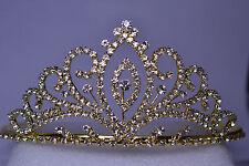LARGE ORNATE GOLD TONE BRIDAL HEADPIECE RHINESTONE TIARA PRINCESS BEAUTY QUEEN