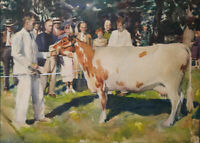 Original Watercolor Painting Signed Framed Figurative Cattle/ Livestock Show