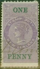 New Zealand 1867 Stamp Duty 1d Lilac & Green P.10 x 12.5 R262