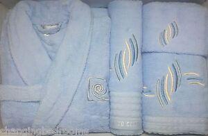 SKY BLUE  PIERRE CARDIN DESIGNER 100% COTTON  L/XL BATH ROBE & 3 PIECE TOWEL SET