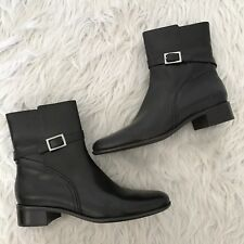 Talbots Brown Leather Buckle Ankle Boots Womens Size 9