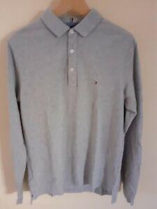 Tommy Hilfiger Medium Long Sleeve Grey Mens Polo Shirt VGC