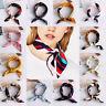 Women Silk Feel Satin  Bandana Square Scarf  Vintage Head-Neck Tie Hair Band UK