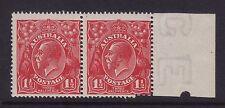 "Australia ACSC 89(24)n; 1½d KGV ""RETOUCH VALUE"" 24R41 variety,MLH Pair"