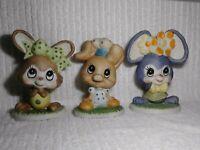 "UCGC Figurines Mouse Pig Rabbit Bunny 6"" VINTAGE Figures Porcelain Lot of 3 RARE"