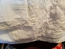 Simply Shabby Chic White Crochet Linen Blend Quilted Pillow Sham