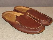 LL Bean ELK Hide Brown Leather Scuffs Slippers Men's 11 M