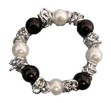 Expanding Black and White Glass Pearl with SIlver Chain Bracelet