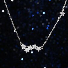 "925 Sterling silver Star Micro Pave Crystal Pendant Necklace 16-18"" Gift Box I5"