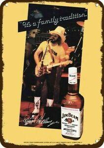 1981 JIM BEAM WHISKEY Vintage Look REPLICA METAL SIGN - HANK WILLIAMS JR Concert