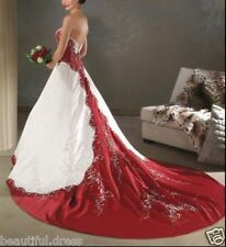 New white and red satin embroidery Wedding dress bridal gown Custom Size 4-26+