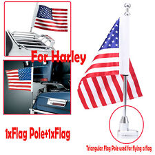 Us Motorcycle Textile American Usa Flag Pole Luggage Rack Mount for Harley Bikes