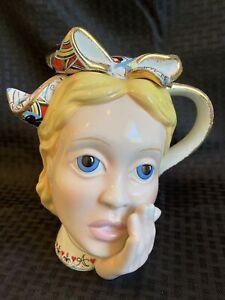 Retired! Paul Cardew Alice In Wonderland Lrg Teapot Alice Head Gold Trim Disney