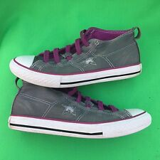 CONVERSE ONE STAR junior's gray purple walking canvas shoes size-3