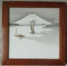 Old Antique Hand Painted Porcelain Tile Mt.Fuji Sailboats Japan Bamboo Frame
