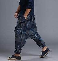 HOT Sale Mens Boho Fashion Harem Hakama Baggy Linen Loose Japanese Samurai Pants