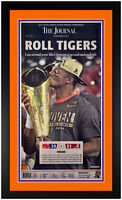 "Clemson Tigers 2016 National Champions ""The Journal"" Newspaper Framed Cover NEW!"