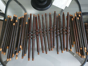Large Lot Of 45 Antique Victorian Walnut Turned Chair Stretchers Spindles 1860