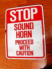 PORCELAIN ON METAL VINTAGE SIGN >> STOP SOUND HORN PROCEED WITH CAUTION EMED CO.