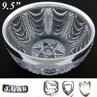 Elegant Antique 1895 London Hallmarked Sterling Silver & Cut Crystal Salad Bowl