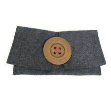 Cinzia Big Button Magnetic Eyeglass Protection Pouch Case Gray Felt Artsy