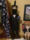 Early American Colonial Primitive Patriotic Americana ABE LINCOLN Doll W Flag