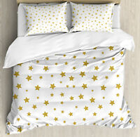 Birthday Duvet Cover Set with Pillow Shams Yellow Stars Pattern Print