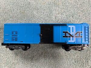 American Flyer #24043 B&M Boston Maine Boxcar LN both nibs blue/black knuckle 58
