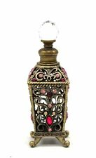 Unusual Vintage Style PERFUME SCENT BOTTLE Pink Brass Tone Metal Ornate  - BC1