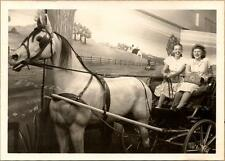 1930s Women Pose in Life Size Carved Horse & Buggy Atlantic City Studio Photo