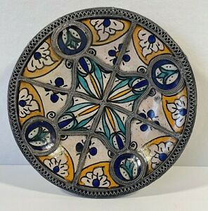 Moroccan Footed Ceramic Plate/Bowl with Silver Nickel Filigree Fez Antique/VTG
