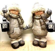 2x Winterkind 47cm Gartenfigur Weihnachtsdeko Winterdeko Junge Mädchen LATERNE